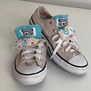 Converse hearts low tops double tongue size 3 girl
